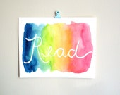 Read wall art watercolor painting dorm decor colorful print classroom art kids wall art library back to school