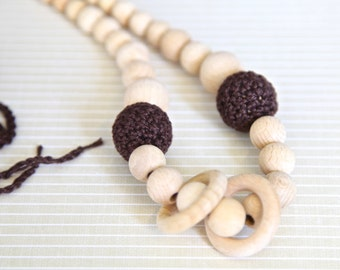 Brown nursing rings necklace. Girls crochet necklace. Mammy and baby teething necklace.