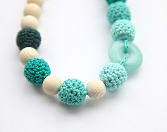 Green mint crochet necklace with natural stone. Wrap Baby Carrier Sling Accessory, nursing necklace.
