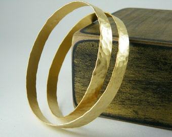 Hammered gold cuff Chunky gold bracelet Statement bangle bracelet