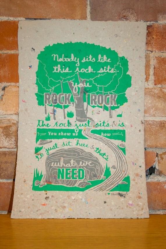 I Heart Huckabees poem - Screenprint on handmade recycled paper