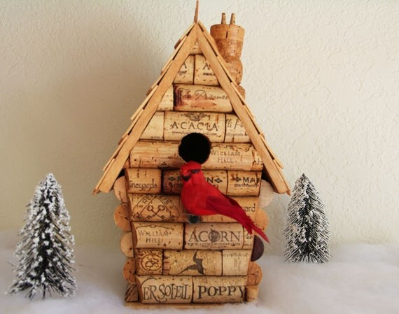 Peak House birdhouse, wood and wine corks