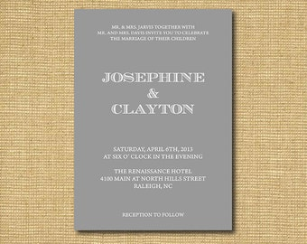 DIY Printable Wedding Invitation available in navy, black, grey, purple and more