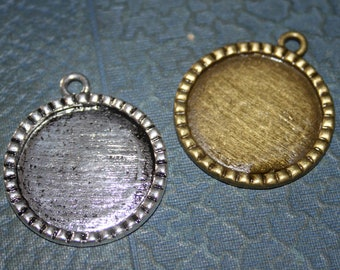 Bottle Cap Pendant setting to use as a Photo Charm - Antique silver or Bronze  1 inch 24 Pieces