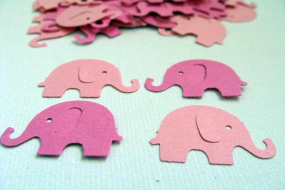 100 Dark Pink and Light Pink Elephant Die Cut Embellishments