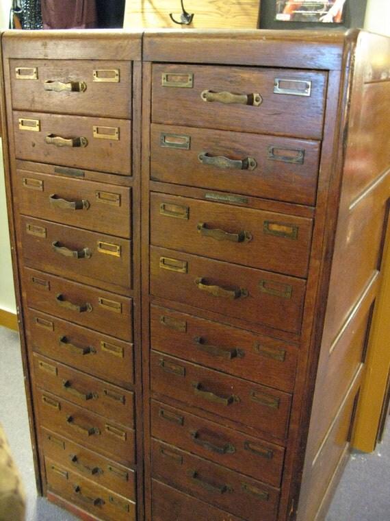 Dewey Decimal System Oak File Cabinet from 1800s