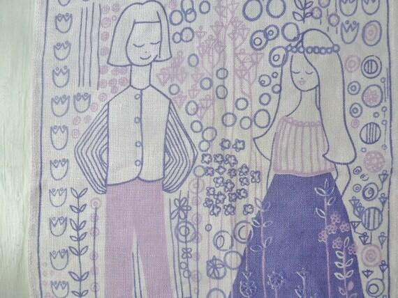 Vintage Swedish textile print / Purple print