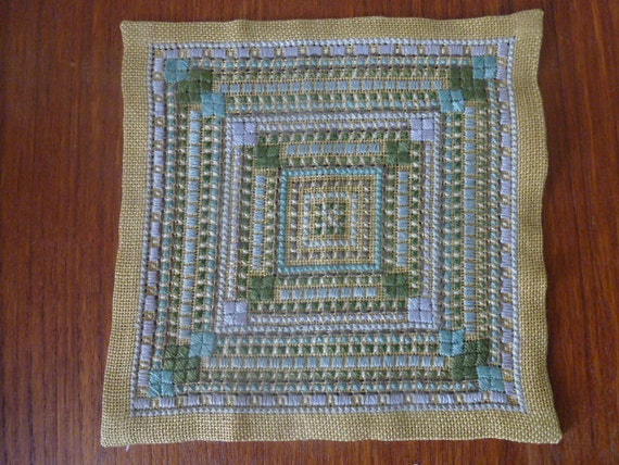 Vintage Swedish tablemat / Small embroidered square