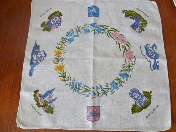 Vintage Swedish tablecloth / Hand printed