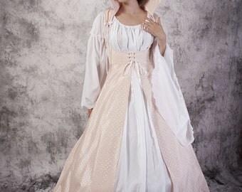 Purple Renaissance Gown Medieval Dress Chemise Set