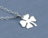 Silver Clover Necklace,Sterling Silver Four Leaf Clover Necklace,Lucky Charm,Lucky Pendant,Best Friends,St. Patrick's Day,Shamrock Necklace