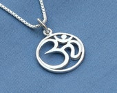 Om Necklace,Sterling Silver, Ohm Necklace,Yoga,Karma Necklace,Buddhist, Buddha, Yoga Necklace, Om pendant, Ohm charm,Buddhist Jewelry