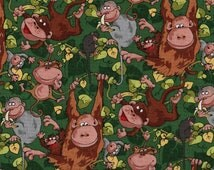 "EOB Clearance, 23"" Fabric, Monkeys, Jungle Jam by Blank Quilting, Monkey Fabric, Jungle Fabric, Tree Fabric Fabric, 00887"