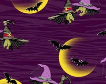 Legend of Webb Hill by Henry Glass, Witch Fabric, Purple Fabric, Halloween Fabric, Harvest Fabric, 01479