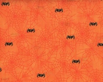 Halloween, Bats, Spooky Eve by Quilting Treasures, Spider Fabric, Halloween Fabric, Orange Fabric, Spiders, 01508