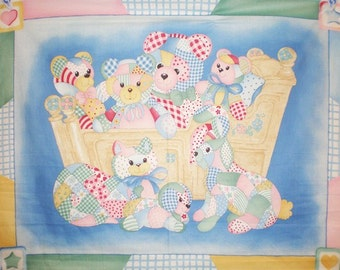 Baby Panel, Baby Fabric, Patchwork Bear Fabric, Baby Panel Fabric, 1 panel, 01103