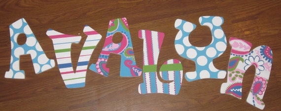 Personalized Handpainted Wall Letters -   nursery letters, wall art, personalized name