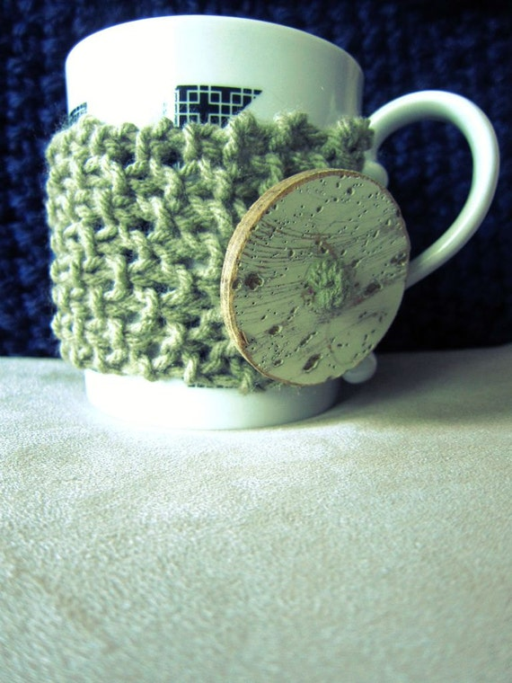 Tan Mug Warmer Knitted Coffee Cup Cozy Taupe White Large Button Loop Tea Hot Cocoa Sleeve