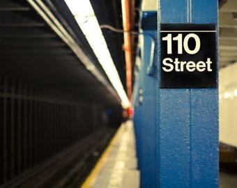 New York subway photo, NYC subway station photo print. Subway tunnel, underground, black and blue urban decor.
