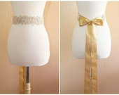 Pearl Beaded Light Gold Embroidery Lace Sash, Bridal Gold Sash, Bridesmaid Sash, Flower Girl Sash, Gold Lace Headband