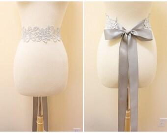 Light Silver Flower Metallic Lace with Grey Satin Sash ,Bridal Sash, Bridesmaid Silver Sash , SH-03