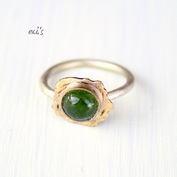 Green Jade Brass Sterling Silver Handcrafted Oxidized Metalwork Soldered Stacking Artisan Cocktail Statement Ring Gift for Her-Size 7.75