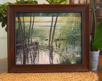 "Wall Art Gift Landscape Original Acrylic Painting 11""X14"": Marquette Swamp Bird"