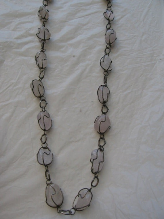 Reserved for Peter-Rose quartz wire wrapped necklace