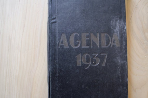 1937.Vintage FRENCH ledger // Accounts journal // Notebook // French diary// hand written