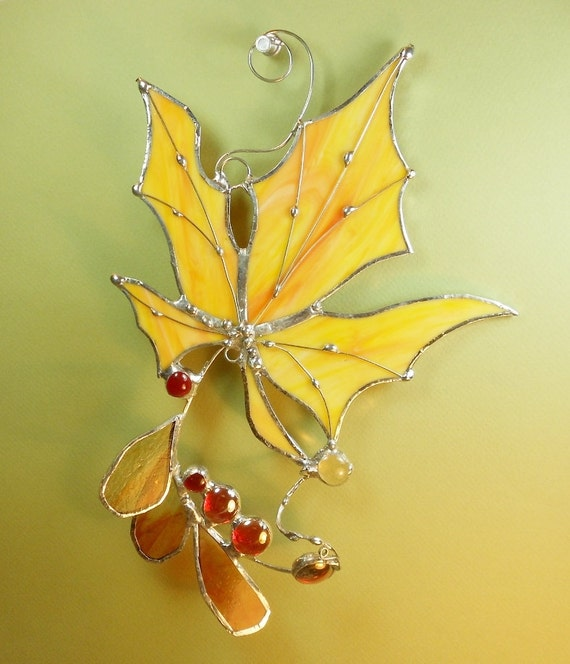 Stained Glass Suncatcher. Yellow/Orange Maple Leaf.
