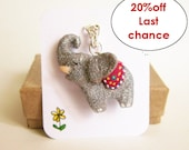 The Strong Elephant necklace, Silver Glitter, polymer clay elephant totem