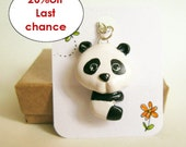 Panda Necklace, Kawaii panda. black and white clay pendant