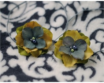 RTS TWIN SET flower headbands in sage green mustard and denim tones with pearl center on skinny elastic great photo prop and daily use