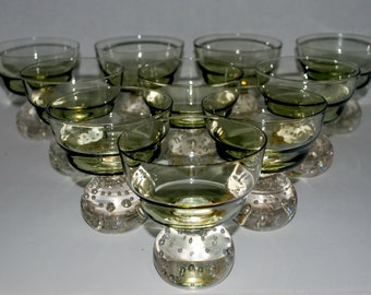 Vintage Scandinavian   bubble glass Carl Erikson  Bubble bottom Scandinavian  sherbet  / ice cream  fruit    glasses 8 glasses