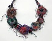 Handmade crochet necklace with wooden beads OOAK