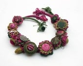 Green fuchsia crochet necklace with fabric buttons OOAK