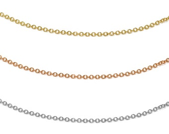 Solid 14K Gold Chain- Your choice of Yellow, Rose or White 18""