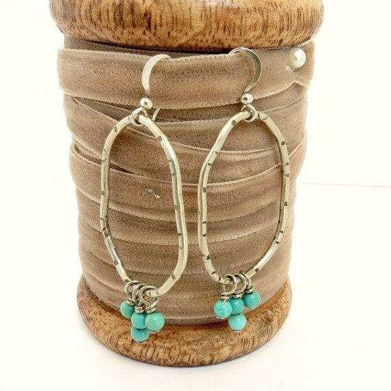 Silver Organic Oval Hoop Earrings with Turquoise Beads