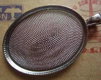 5pcs 40x30mm silver cabochon pendant settings  C2789