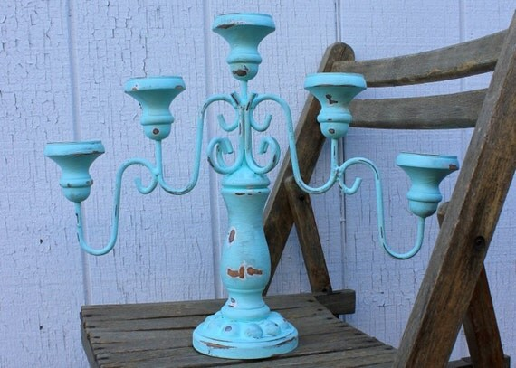 """Teal/Aqua/Turquoise Candelabra - Shabby Chic Candleabra - 15"""" tall"""