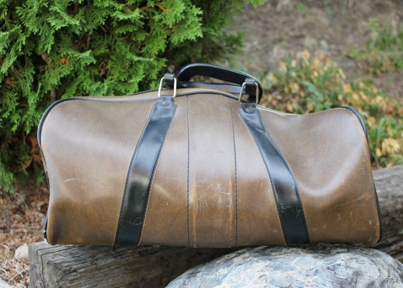 Black and Brown Vintage Duffle Bag - Vintage Gym Bag - Vintage Luggage