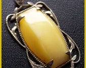 "Victorian Vintage NECKLACE PENDANT Yellow Glass Stone Silver Metal 1.5"" EX"