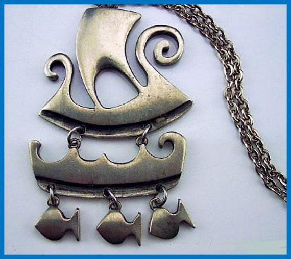 Vintage Viking Ship Pendant Necklace Signed By