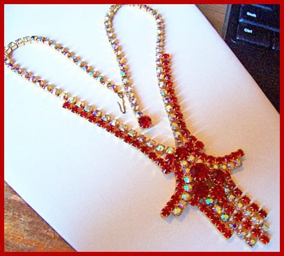 """Vintage Rhinestone Necklace Pendant w Red & AB Crystals Multi Dangle High End 24"""" EX"""