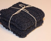 Set of 2 Knitted Dishcloths- Navy Blue (100% Pure USA Grown Cotton)- Made to Order