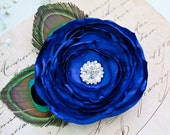 Royal Blue Hair Flower Clip with Peacock Feathers Hair Flower Bridesmaids Hairpiece Wedding Hair Flower Bridesmaid Gift Feather Fascinator