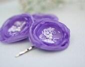 CIJ SALE - Lavender Flower Bobby Pins (3 pcs), Hair Flowers, Bridesmaids Flowers, Hair Accessories
