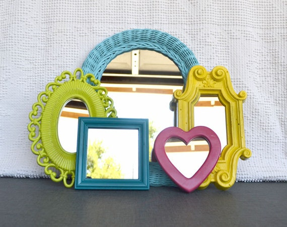 Bright Painted Mirror Set of 5 - Upcycled Mirrors.. great for Gallery Wall/ Playroom or Teen Girl Kids Bedroom