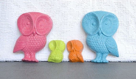 Bright Funky Owl Family -YOU PICK Colors....Upcycled Vintage Owl Wall Hanging Playroom Nursery Kids bedroom
