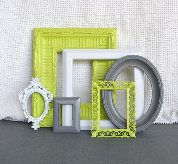 lime green grey gray white ornate frames set of 6 upcycled